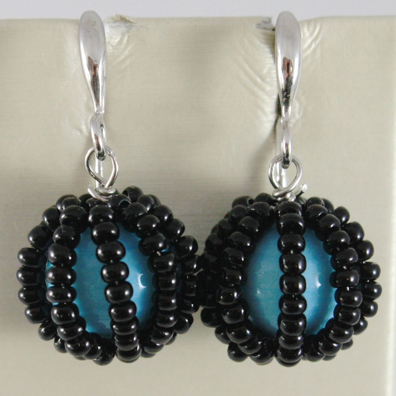 ANTICA MURRINA VENEZIA CORALLINA EARRINGS, LITTLE BLACK DISCS & TURQUOISE BALL