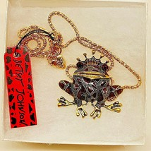 Betsy Johnson Fairy Tale Enamel Crown Crystal Frog Prince Pendant/Brooch - $19.00