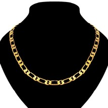 Italy .Silver 14k Yellow Gold 2.8mm Figaro Link Chain Pave Necklace - $9.79