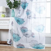 Contemporary Watercolor Petal Print Curtains 84 Inch Length 2 Pieces Gre... - $28.39