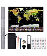 "Scratch Off Map of The World 32.5""×24.5"" Extra Large Scratch Off Map Pos... - $21.21"