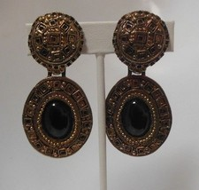 Vintage Large Signed Lazuli Etruscan style Clip-On Earrings - $32.18