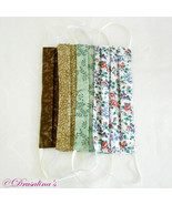 Face Mask Handmade Adult Lot Cloth Washable Brown, Green, Floral - Set of 4 - $9.99