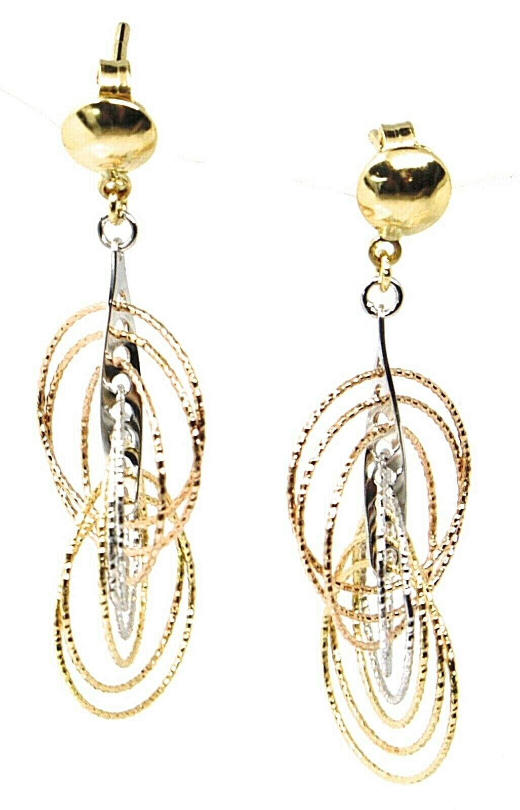 18K YELLOW WHITE ROSE GOLD PENDANT EARRINGS MULTIPLE WORKED CIRCLES SPIRAL 4cm,