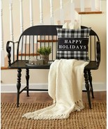 Farmhouse Country BLACK Bench with Metal Spindle Legs Modern Entryway Seat - $184.00