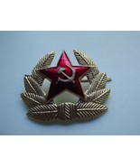 Badge Red Star Soviet Russian Army Soldier Insignia USSR Hat Metal - $14.01