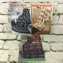 Red Heart Afghan Pattern Books Lot of 3 - $19.79