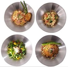 Pasta Plates 4Pcs Main Dish Plates Matte Stainless Steel Material