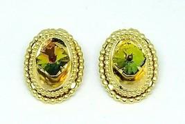 Watermelon Rivoli Rhinestone Gold Tone Oval Clip Earrings Vintage - $19.79