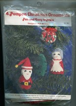 NeedleMagic Pompon Christmas Ornaments Kit 1978 Santa Mrs Claus Tree Wreath - $12.86