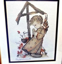 Vintage MJ Hummel Picture Embroidery Cross stitch Angel Girl matted fram... - $14.90