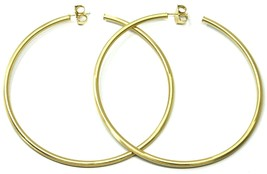 925 STERLING SILVER CIRCLE HOOPS BIG EARRINGS 8.5cm x 3mm YELLOW SATIN FINISH image 2