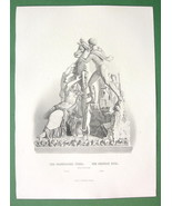 NUDE Sculpture Group Farnese Bull - Antique Print by A. REES - $9.45
