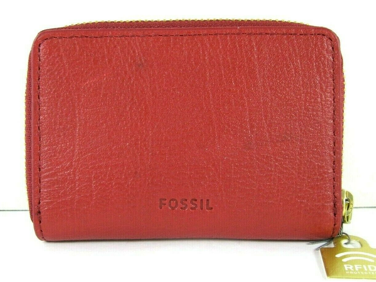 Fossil $40 NWT RFID Mini Zip Red Velvet Zipper Pouch Wallet Small Accordion New