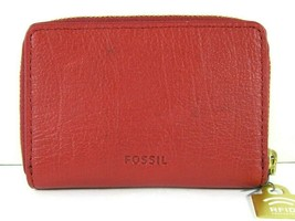 Fossil $40 NWT RFID Mini Zip Red Velvet Zipper Pouch Wallet Small Accord... - $29.69