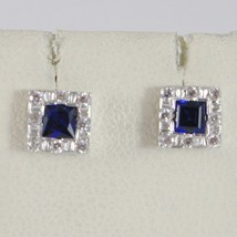 18K WHITE GOLD 6 MM SQUARE EARRINGS WITH ZIRCONIA PRINCESS BLUE image 1