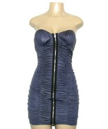 ❤️SYMPHONY Bodycon Dress Strapless Ruched Zipper Stretch Navy Medium NEW... - $23.74
