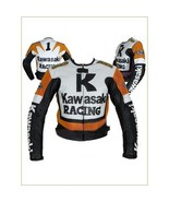 KAWASAKI RACING BLACK WHITE COWHIDE MOTORCYCLE LEATHER JACKET WITH SAFETY PADS - $159.99