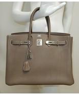 Hermes Birkin 35cm Etoupe Clemence Leather Palladium HW Bag - $14,898.00