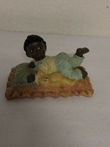 Vintage Americana Ceramic Black Baby Figurine In Bed With Teddy Bear Rar... - $79.99