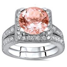14K White Gold Over Silver Round Morganite & CZ Dia Wedding Bridal Halo Ring Set - $139.99