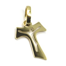 18K YELLOW GOLD CROSS, FRANCISCAN TAU TAO SAINT FRANCIS WITH JESUS, 0.6 inches  image 2