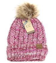 CC Beanie Multi Toned Pink Fur Pom Fuzzy Lining Women's Knitted Warm Win... - $14.50
