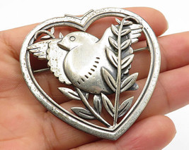CORO 925 Silver - Vintage Antique Bird & Open Love Heart Brooch Pin - BP2052 - $79.93