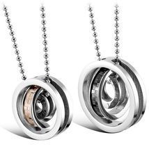 His&Hers 316L Stainless Steel Pendant Necklace Circle Cross LOVE ETERNAL - £22.68 GBP