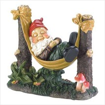 SLUMBERING GNOME Statue Outdoor Decor Sleeping in Hammock - $27.71