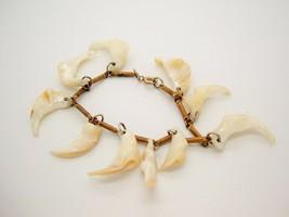 Vtg Brass and white Crescent Shaped Sea shells Funky CHARM Bracelet Beac... - $24.73