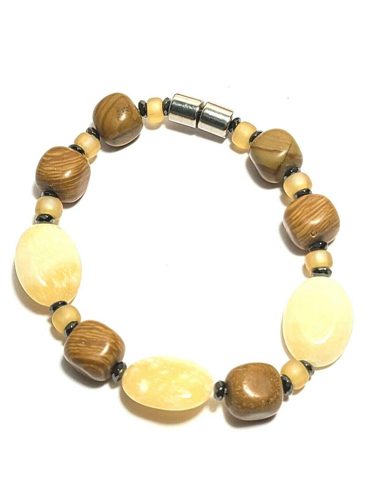 Beaded Bracelet Magnetic Hematite Clasp Single Strand   7.5 Inch   (MAG-017)