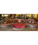Moroccan Sectional/Ottoman Sofa Baroque Damask Silk Fabric  w/Assorted P... - $7,915.05