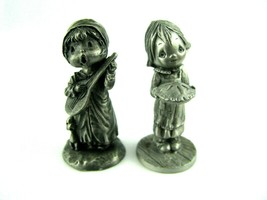 Vintage Hallmark Pewter Little Gallery Girl Holding Pie & Boy Playing Ma... - $18.76