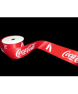 Coca-Cola Ribbon 2 Yard Spool 1.5 Inches Red with Repeating Logo and Bot... - $3.96