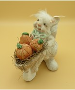Pudgie Bunny, Pushing Pumpkin Cart, Hand Painted, Cast Art Ind., Mexico,... - $14.00