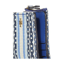 Tory Burch Bondi Blue Gemini Link Canvas Mini Bifold Wallet NWT - $113.36