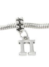 Sterling Silver Dangling Greek Letter Pi Europ EAN Bead Charm - $14.92