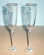 Lenox Heritage Home Decor Champagne Flutes Set/2 Etched Vine & Gold Rim ... - $39.90