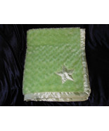 TADPOLES BABY BLANKET LIME GREEN SWIRL ROSE ROSETTE FUR SOFT SATIN STAR ... - $23.75