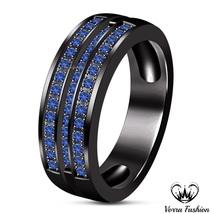 Vintage Black Gold Finish Sterling Silver Blue Sapphire Wedding Men's Band Ring - $84.99