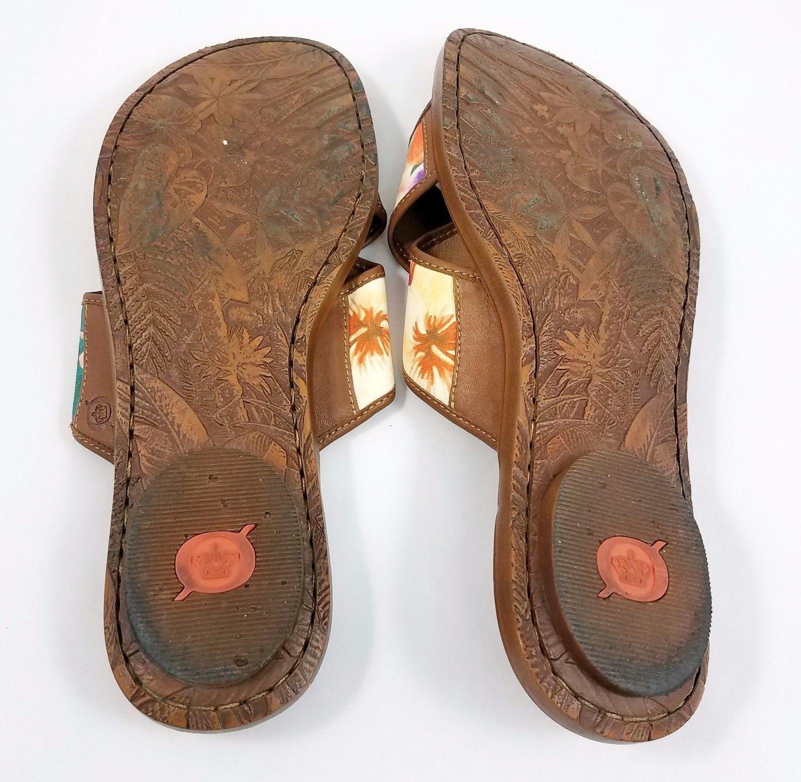 d7d8225dae9a ... Born Brown Leather Multi Color Floral Sandals Slip On Slides Shoes  Womens 10 ...