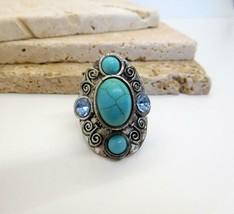 Vintage Boho Southwest Faux Turquoise Blue Rhinestone Silver Statement R... - $19.79