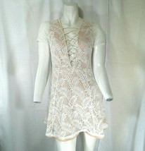 Forever 21 Womens Pale Pink and White Lace Mini Dress w Pink Underlay Si... - $25.93