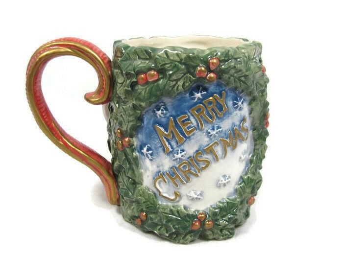 Omnibus by Fitz and Floyd Merry Christmas Santa Victorian Wreath Mug Cup 10 Oz - $28.31