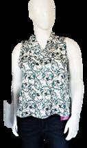 Worthington Petite Sleeveless Blue and Cream Floral Blouse Size PXXL