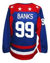 Custom Name # Team USA Retro Hockey Jersey Sewn New Blue Banks #99 Any Size image 2