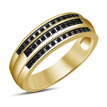 RD Black Sim Diamond Sterling Silver 14k Gold Filled Men's New Anniversary Band - $76.57