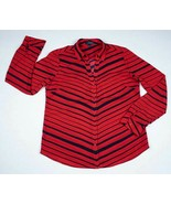 THE LIMITED NEW WOMENS MEDIUM RED BLACK STRIPED BUTTON FRONT BLOUSE TOP $60 - $29.69