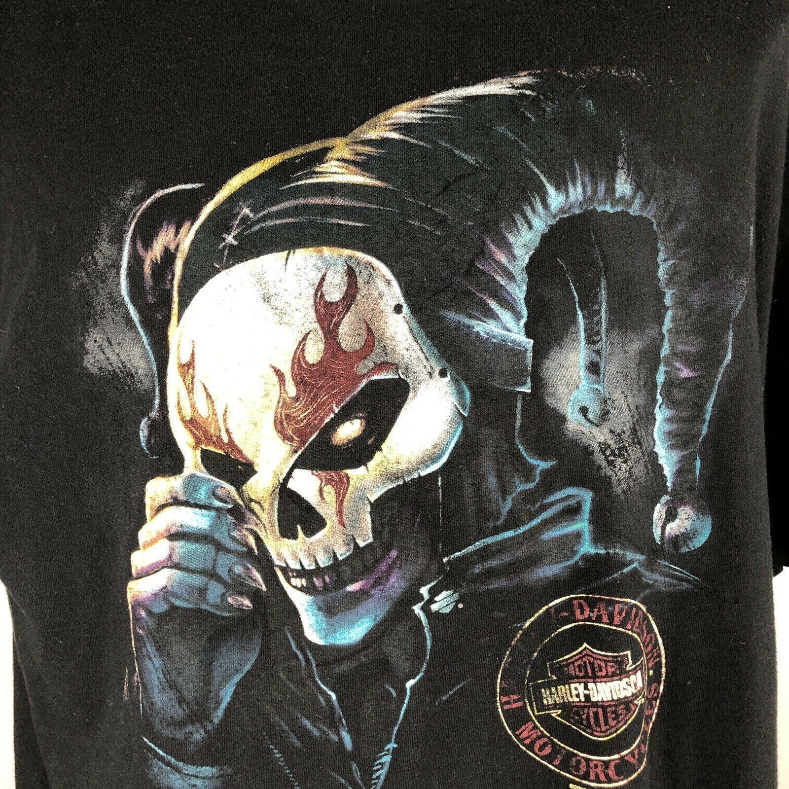 Harley Davidson T Shirt Skeleton Clown Size XL Sturgis MI Black Motorcycle